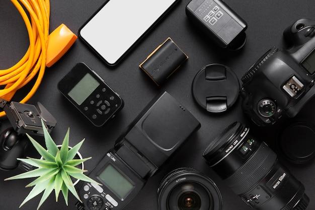 Vue de dessus des accessoires de concept de photographie