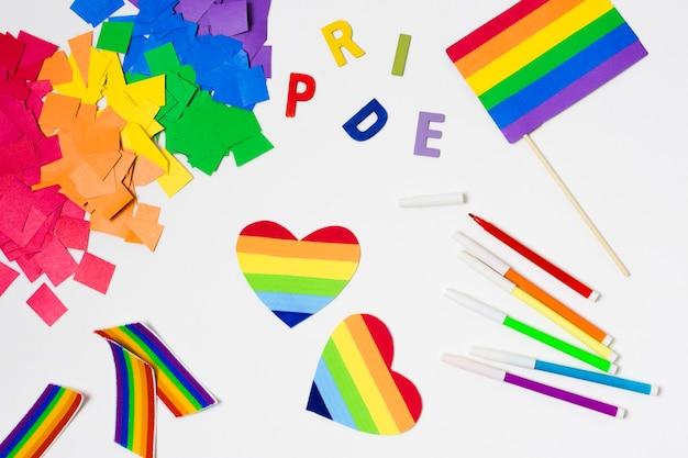 Vue de dessus accessoires gay pride