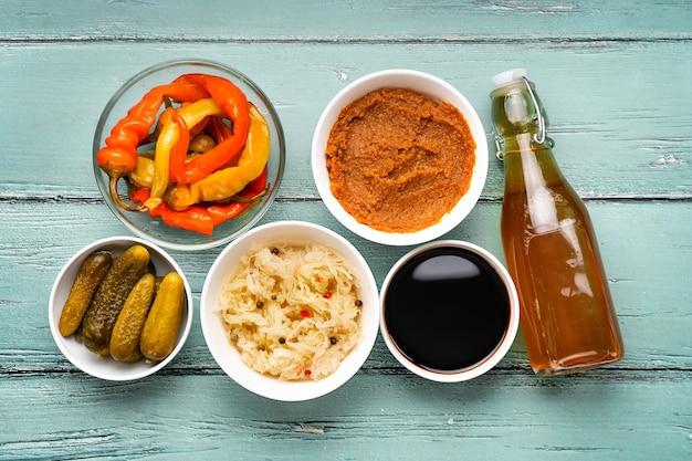 Vue de dessus sur les aliments fermentés
