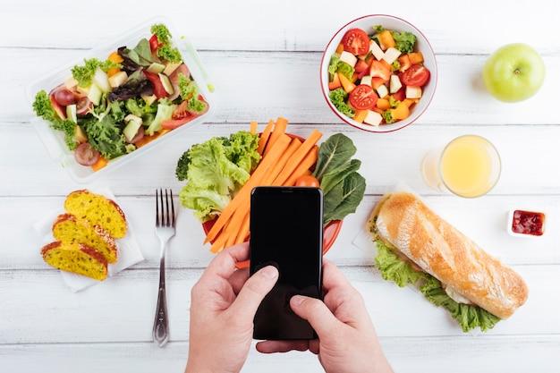Vue de dessus des aliments sains délicieux