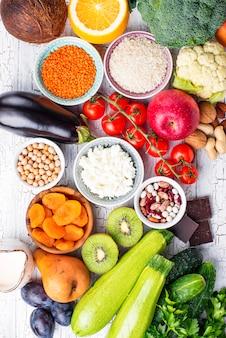 Vue de dessus des aliments sains