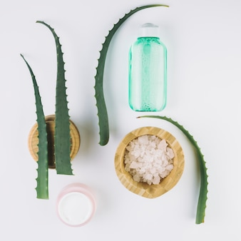 Vue de dessus aloe vera avec des outils de beauté et des produits cosmétiques