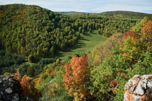 Une vue de dessus des arbres forestiers colorés et du lac en automne.
