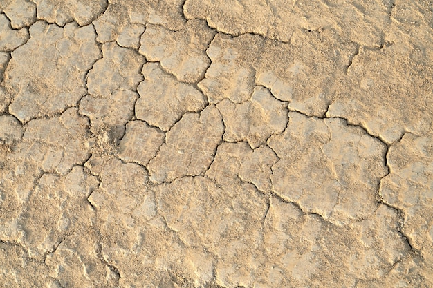 Vue de dessus de l'argile sèche et fendue