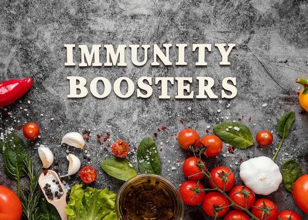 Vue de dessus arrangement d'aliments sains pour renforcer l'immunité