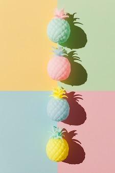 Vue de dessus arrangement de fruits d'ananas