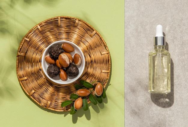 Vue de dessus arrangement d'huile d'argan
