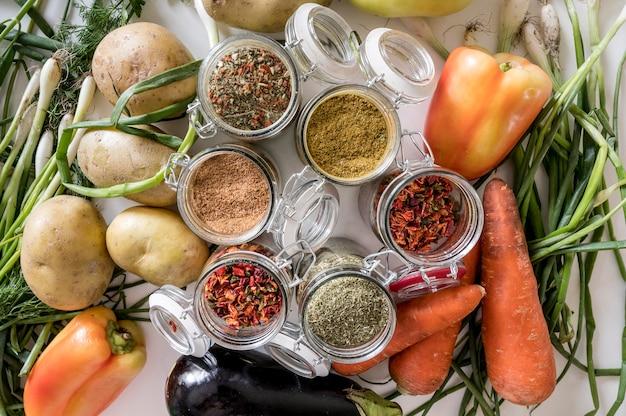 Vue de dessus arrangement d'ingrédients sains