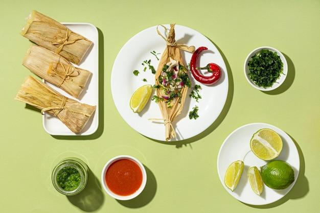 Vue de dessus arrangement des ingrédients tamales