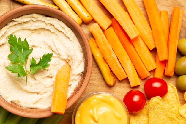 Vue de dessus arrangement de légumes sains