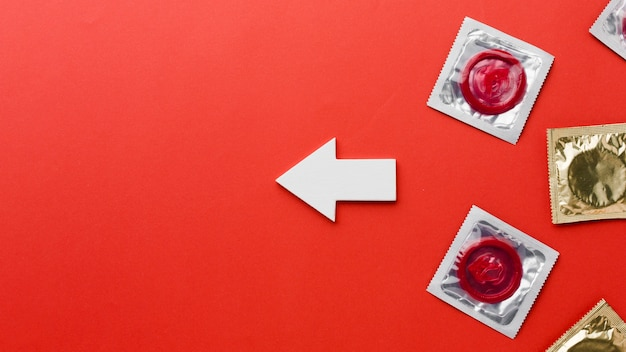 Vue de dessus arrangement de méthode de contraception avec espace copie