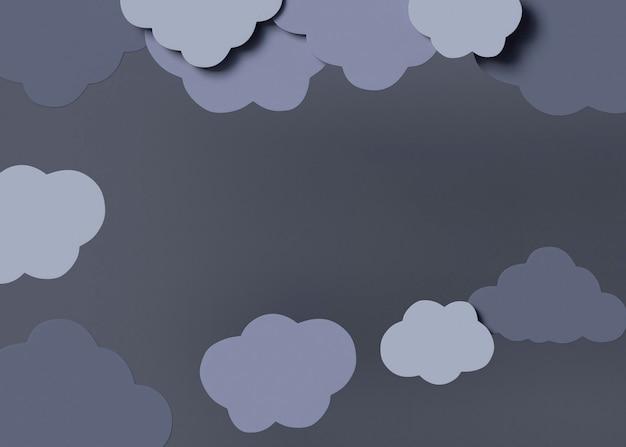 Vue de dessus arrangement de nuages gris