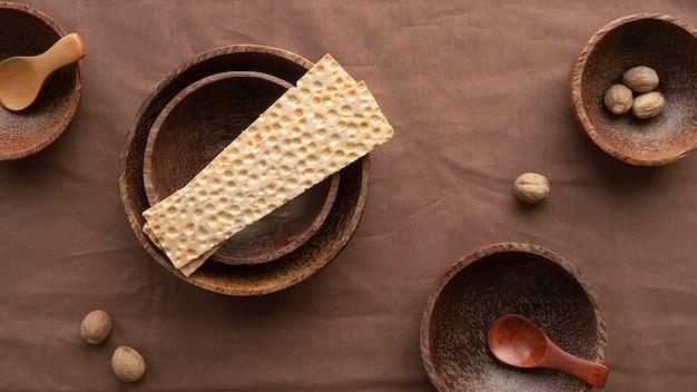 Vue de dessus arrangement de vaisselle japonais