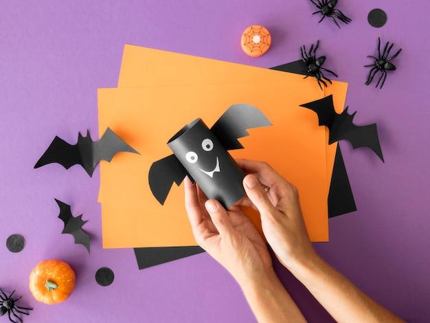 Vue de dessus des arrangements d'halloween faits à la main