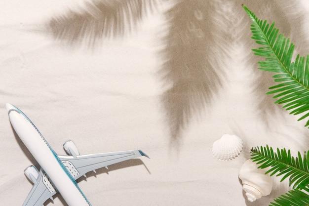Vue de dessus de l'arrière-plan du voyageur sur le sable tropical, les coquillages et l'avion. contexte pour le voyage de vacances de vacances d'été avec des ombres de palmiers. mise à plat, espace de copie