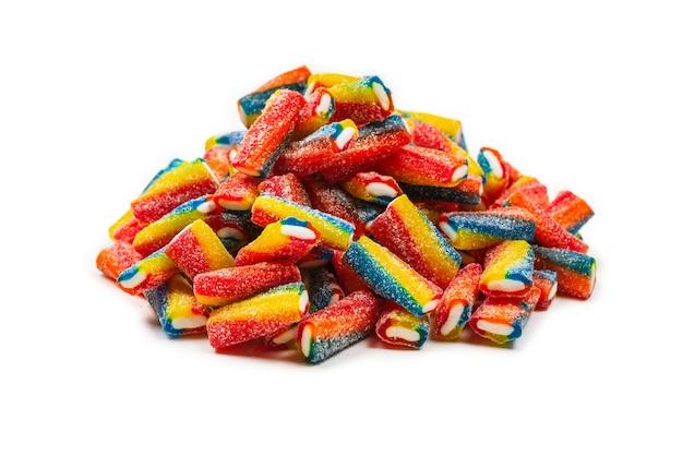 Vue de dessus assortiment de bonbons gommeux et bonbons à la gelée