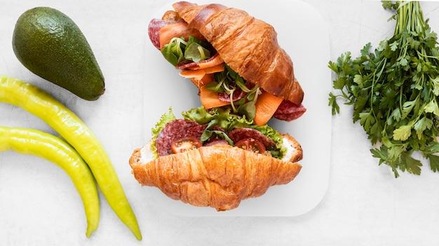 Vue de dessus assortiment de délicieux sandwichs