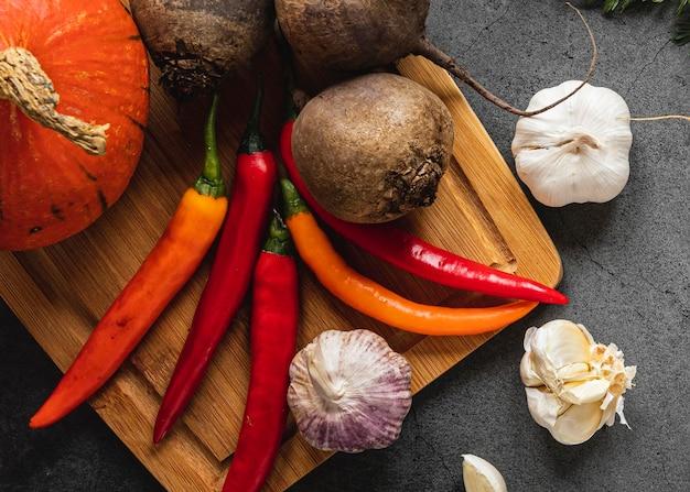 Vue de dessus assortiment de légumes