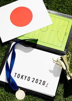 Vue de dessus assortiment reporté de l'événement sportif de tokyo 2020