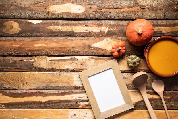 Vue de dessus automne cadre de la nourriture avec copie-espace