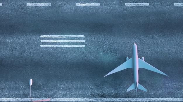 Vue de dessus de l'avion garé sur la piste de l'aéroport