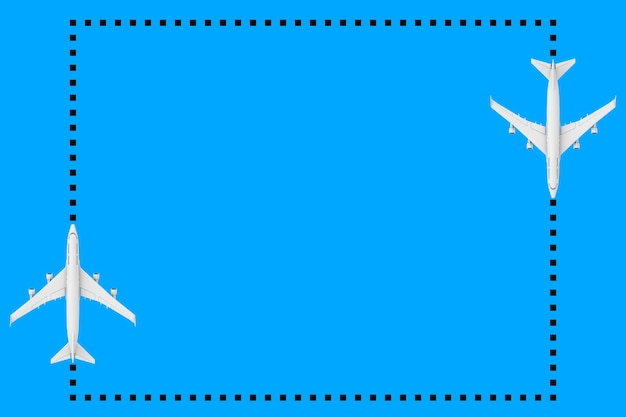 Vue de dessus de l'avion de passagers white jet comme cadre de points avec un espace vide pour votre conception sur un fond bleu. rendu 3d