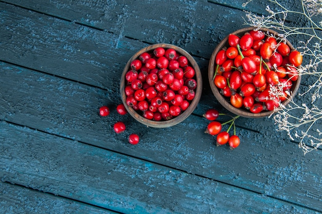 Vue de dessus des baies rouges fraîches à l'intérieur des assiettes sur un bureau en bois foncé berry fruits sauvages santé photo couleur