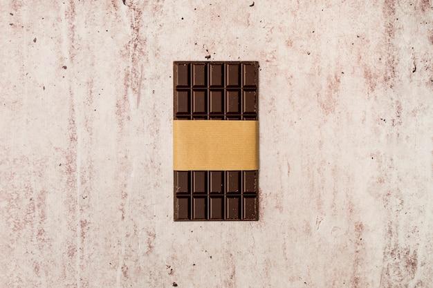 Vue de dessus de la barre de chocolat