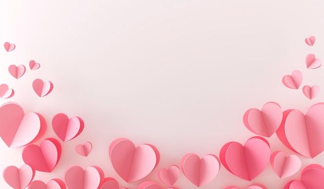 Vue de dessus de beaucoup de coeurs roses