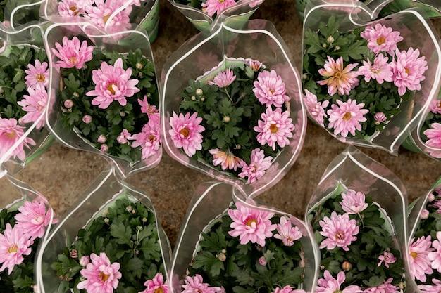 Vue de dessus de beaux bouquets de fleurs