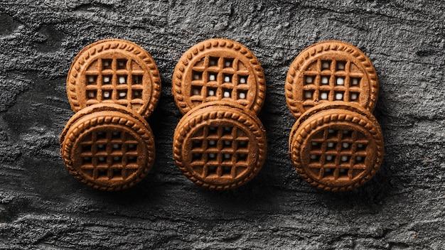 Vue de dessus de biscuits au chocolat