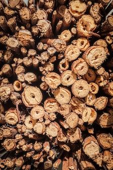 Vue de dessus en bois naturel comme utilisation pour le fond.