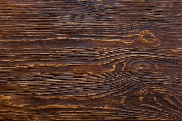 Vue de dessus d'un bois rustique patiné brun