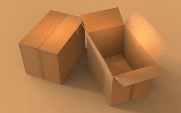 Vue de dessus sur les boîtes en carton fermées et ouvertes