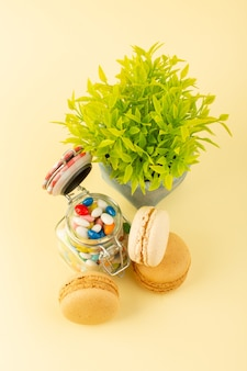 Une vue de dessus des bonbons colorés avec des macarons français et des plantes