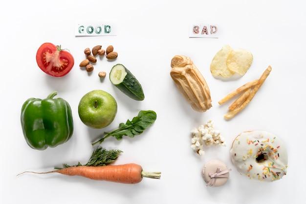Vue de dessus de la bonne et mauvaise nourriture sur isolé sur fond blanc