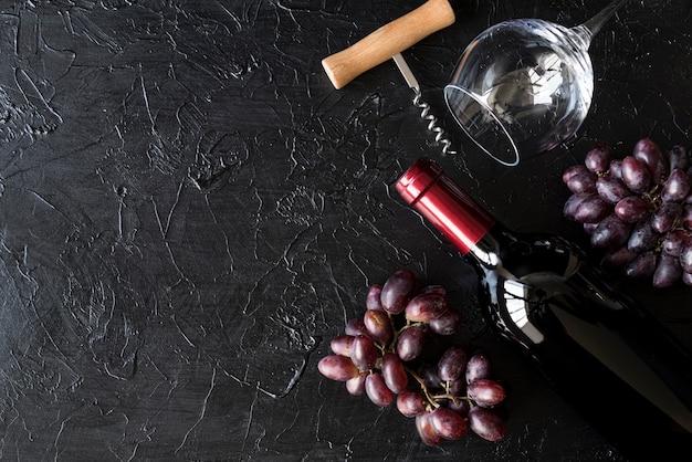 Vue de dessus bouteille de vin