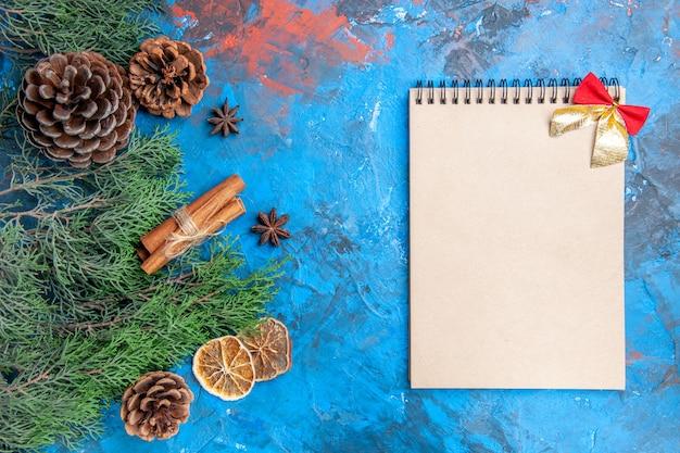 Vue de dessus des branches de pin avec des cônes des bâtons de cannelle des graines d'anis des tranches de citron séchées un cahier avec un petit arc sur une surface bleu-rouge