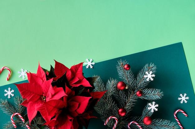 Vue de dessus sur les brindilles de sapin poinsettia boules rouges cannes de bonbon et flocons de neige