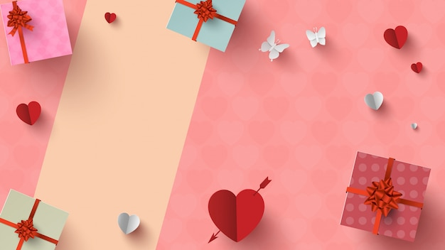 Vue de dessus des cadeaux et de la décoration de la saint-valentin