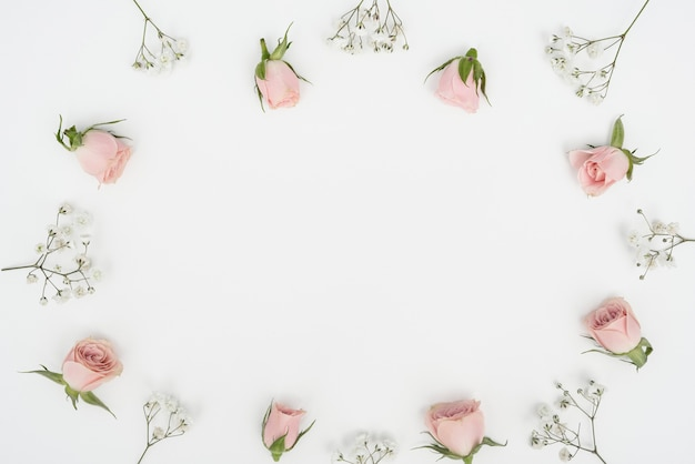 Vue de dessus cadre de boutons de rose et fond d'espace copie