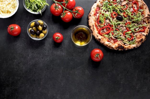 Vue de dessus cadre de cuisine italienne