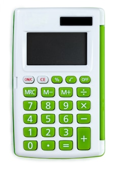 Vue de dessus d'une calculatrice isolée
