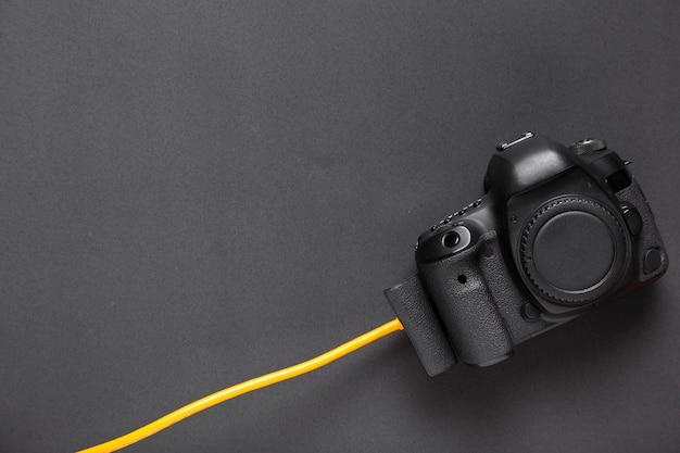 Vue de dessus de la caméra avec espace de copie