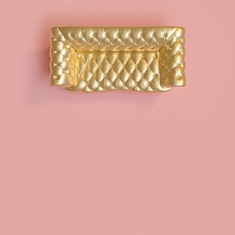 Vue de dessus d'un canapé classique capitonné de couleur or