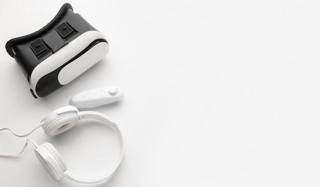Vue de dessus casque de réalité virtuelle casque blanc
