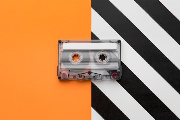 Vue de dessus de cassette mix-tape vintage