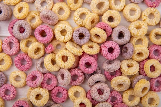 Vue de dessus des céréales multicolores et saines