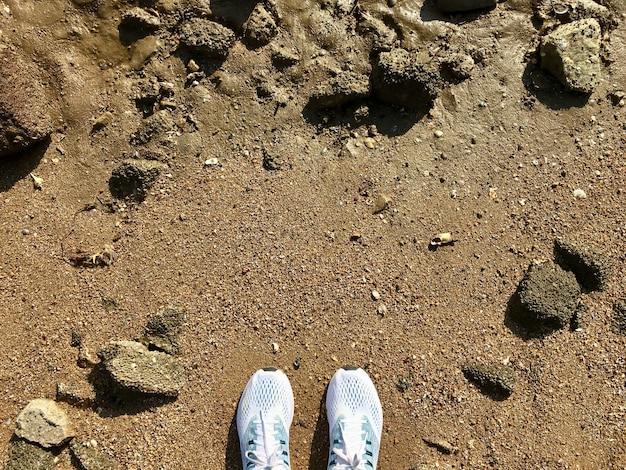 Vue de dessus des chaussures blanches sur la plage de sable et de nombreuses roches