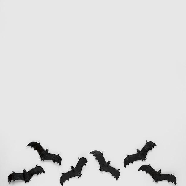 Vue de dessus des chauves-souris halloween effrayantes avec espace de copie